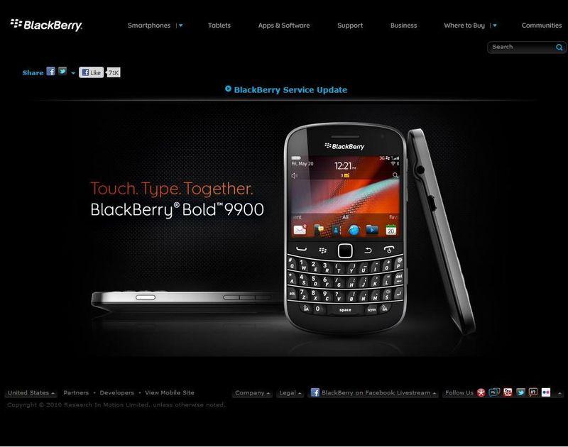 Blackberry home screen US. October, 2011